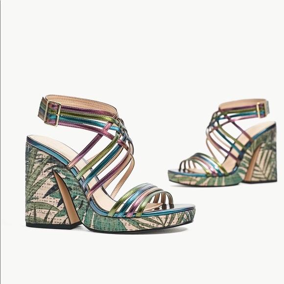 Zara Multicolor Tropical Flower Platform Sandals
